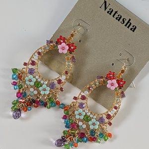 Natasha Gold Brad Flower Chandelier Earrings New